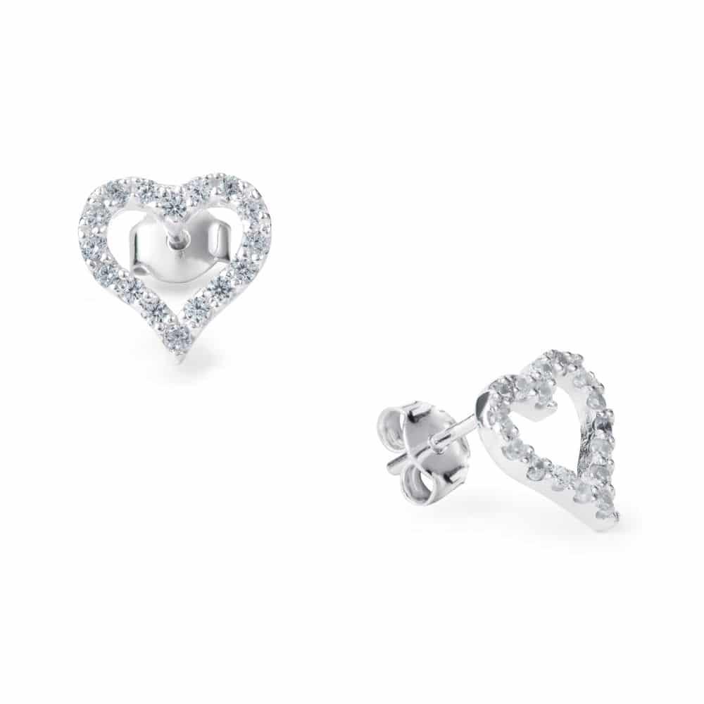 Sugar Sugar Open Sparkling Heart Throb Stud Earrings