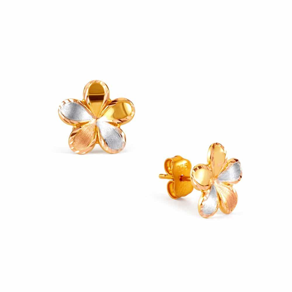 Filigree Stud Earrings Yellow Gold