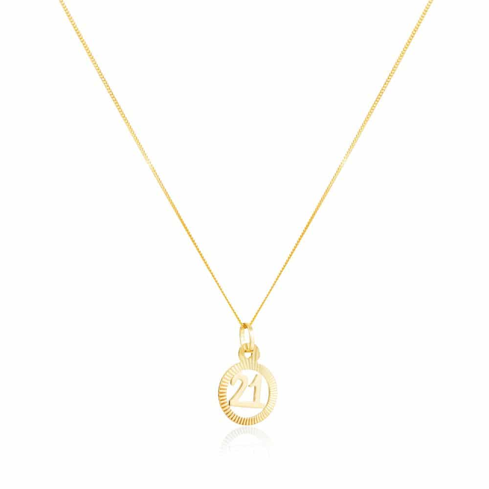 Yellow Gold '21' Circle Pendant With Chain