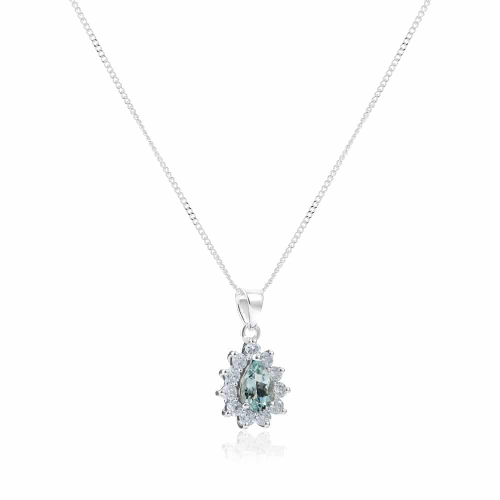 9ct White Gold Pear Shaped Aquamarine & Diamond Cluster Pendant With Chain